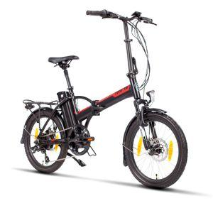 Fitifito FD20 Plus 20 Zoll Smart Elektrofahrrad Faltrad Klapprad Folding Faltbar E-Bike Pedelec, 48v 250w Heckmotor, 48v 13ah 624wh Cells-Litium Akku, 7 Gang Shimano, klappbar schwarz rot