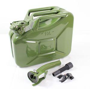 1x Benzinkanister Kraftstoffkanister Metall 10 Liter Oliv inkl. Ausgießer + Halter
