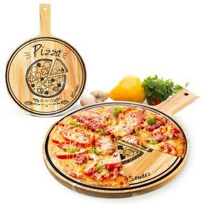 Pizzabrett mit Griff und Aufdruck ø30cm Holzbrett Vesperbrett Käsebrett Wurstplatte Pizzateller