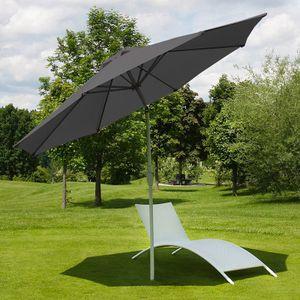 Sonnenschirm N18, Gartenschirm, Ø 2,7m neigbar Polyester/Alu 5kg  anthrazit