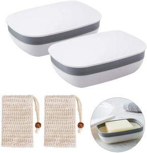 Seifendose, 2 Stück Seifenschalen Box mit Abdeckung and 2 Stück Seifensäckchen Sisal für Badezimmer Reise (Weiß)