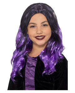 Schwarz-lila Vampir Perücke für Kinder an Halloween