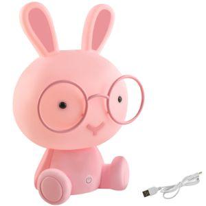 Kinderlampe Nachtlicht für Kinder mit Lichtintensitätsregelung Einschlafhilfe Hase /Teddybär verschiedene Farben 7881, Muster:Kaninchen rosa