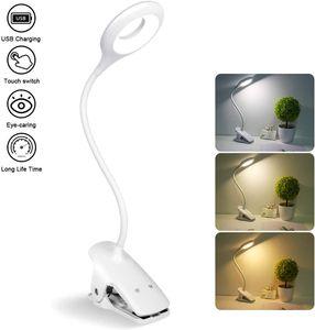 Leselampe, 28 LED-Klemmleuchte USB Wiederaufladbare Dimmbar klemmlampe (3 Farb und 3 Helligkeitsstufen) 360° Flexibel