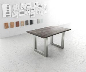 Massivholztisch Live-Edge Akazie Platin 140x90 Platte 5cm Gestell breit Baumtisch