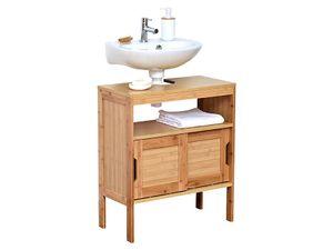 Design Bambus- und MDF-Waschbeckenmöbel mit 2 MDF-Schiebetüren + 1 Regal - Bambus - 70x60x30cm - Badezimmer - Badmöbel - Waschbecken