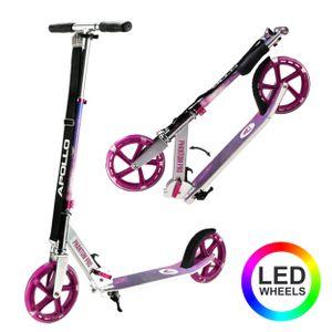 "Apollo City Scooter ""Phantom Pro"" Cityroller mit LED Wheels klapp- und höhenverstellbar Tretroller - Starlight pink"