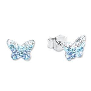 Amor Schmuck Ohrstecker für Mädchen, Sterling Silber 925, Preciosa Steine Schmetterling Blau onesize
