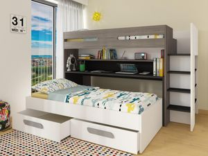 Etagenbett mit Stauraum & ausziehbarem Schreibtisch DAVID - 90 x 190 & 90 x 200 cm