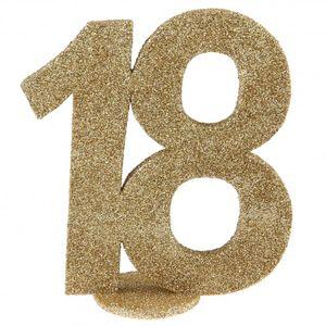 XXL Tischdeko Zahl 18 Geburtstag Gold Glitzer 1 Stück