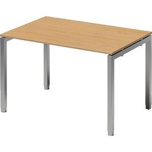 Bisley Schreibtisch CITO U 1200x650-850x800mm silber/buche