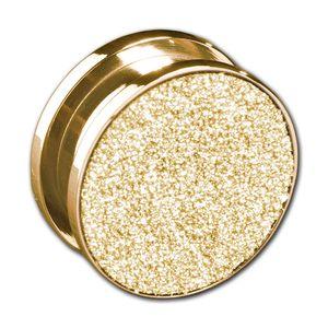 viva-adorno 1 Stück Gr. 6mm Plug Flesh Tunnel mit Schraubverschluss Edelstahl Glitzer Design Größe 3 - 12mm Z477, Gold