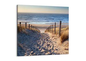 """Leinwandbild - 50x50 cm - """"Das Rauschen des Meeres, das Singen von Vögeln, ein wilder Strand zwischen den Gräsern ...""""- Wandbilder - Meer Strand Dünen  - Arttor - AC50x50-3612"""