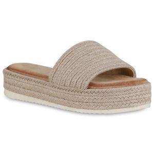 Mytrendshoe Damen Pantoletten Sandaletten Plateau Bast Schuhe Profilsohle 834674, Farbe: Beige, Größe: 39