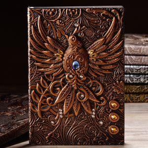 Retro 2000 Notizbuch Tagebuch Notebook Reisetagebuch Handarbeit Phönix Gravieren