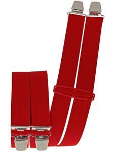 Hosenträger mit 4 extra starken  Clips uni Farben, Farben:rot