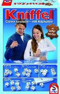 Schmidt Spiele Familienspiel Würfelspiel Kniffel mit Lederwürfelbecher 49030