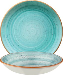 Bonna Premium Porcelain AAQGRM20CK Aura Aqua Plate Teller tief, Supenteller, 20cm, 500ml, Porzellan, türkis, 1 Stück