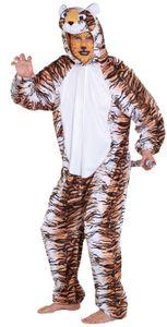 Herren Kostüm Tiger Overall als Raubkatze zu Karneval Fasching
