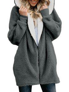Damen Zipper Fleece Jacken Casual Hooded Fluffy Cardigan Coat,Farbe: Dunkelgrau,Größe:S