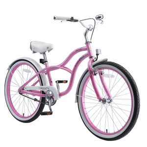 BIKESTAR Kinder Fahrrad ab 9 Jahre | 24 Zoll Cruiser Kinderrad | Pink
