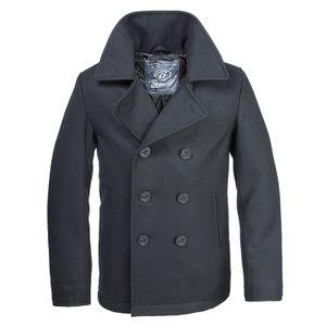 Brandit - Mens Peacoat Schwarz, US-Style Marinejacke Pea Coat Jacke Mantel Neu Größe M