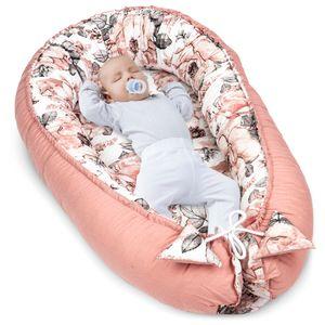Babynest Kokon Neugeborene 90x50 Handmade Babynestchen Kuschelnest Baby Nest Nestchen Babybett Liegekissen Rose – Puderrosa Baumwolle