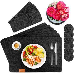 Platzset, Filz Tischset 6er Set mit Glasuntersetzer und Bestecktaschen, Waschbare Tischuntersetzer Platzdeckchen, Abwischbar Untersetzer Filzmatte