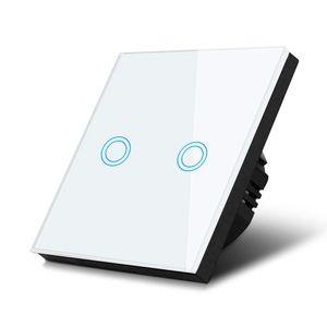 Glas Touch Lichtschalter Wandschalter Touchscreen Schalter LED Beleuchtung weiß 2-fach Schalter rund