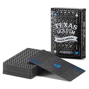 Schwarze Pokerkarten Deluxe - Plastik Poker Kunststoffkarten Spielkarten