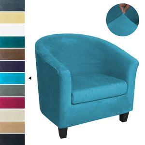 Stretch Plüsch Sesselbezug Abnehmbarer Schonbezug für Clubsessel Cocktailsessel,Grün