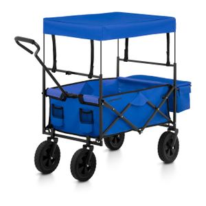Uniprodo Bollerwagen faltbar mit Dach - Blau