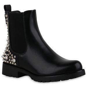 Mytrendshoe Damen Stiefeletten Chelsea Boots Blockabsatz Nieten Strass Schuhe 835418, Farbe: Schwarz, Größe: 38