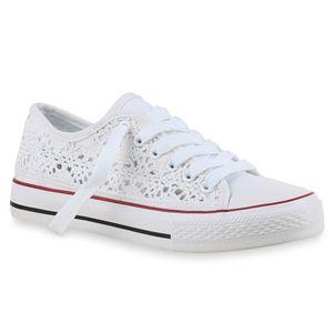 Mytrendshoe Damen Sneakers Stoffschuhe Spitze Sportschuhe Freizeit Schuhe 814694, Farbe: Weiß, Größe: 39