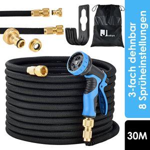 Juskys Gartenschlauch Aqua Pro 30 m - Wasserschlauch flexibel dehnbar – Flexschlauch knickfest mit 9-Funktions-Handbrause & Adapter – Schwarz