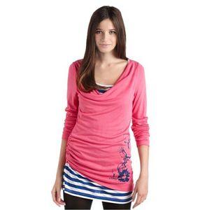 Maui Wowie Damen Rosa Longsleeve 2-in-1 Shirt Sleeve Ringel-Langarmshirt 2-Lagen-Optik Wasserfallkragen XS