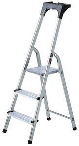 Brennenstuhl Haushaltsleiter Aluminium mit Arbeitsschale 3 Stufen Plattformhöhe 0,6m, 1401230