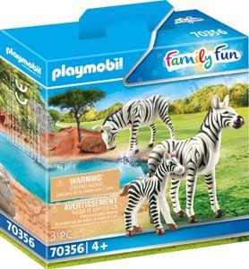 PLAYMOBIL, 2 Zebras mit Baby, Family Fun, 70356