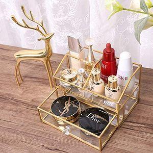 Glas Kosmetik Organizer Klar Make Up Organizer Kosmetische Aufbewahrungsbox Display Make-Up Fall für Palette