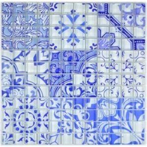 Retro Vintage Mosaikfliese Transluzent blau Glasmosaik Crystal Design blau MOS88-Retro-33