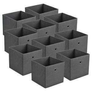 Faltbox 10er-Set Aufbewahrungsbox 30x30x28 cm Klappbox Organizer Vliesstoff Dunkelgrau [en.casa]