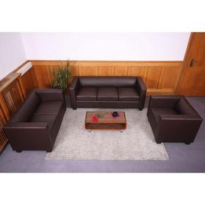 3-2-1 Sofagarnitur Couchgarnitur Loungesofa Lille  Kunstleder, coffee