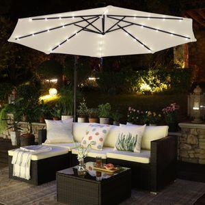 SONGMICS Sonnenschirm mit LED-Solar-Beleuchtung, Ø 300 cm, 32 LED-Lämpchen, UV-Schutz bis UPF 50+, Ampelschirm, Gartenschirm, mit Ständer, mit Kurbel, beige GPU018M01