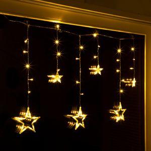 Lichterkette Sternenvorhang LED warmweiß Lichtervorhang 100x80cm Batterie Timer