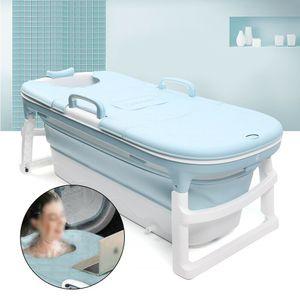 138x62x22cm Badewanne Verdickte Wanne Faltbare Kunststoffbadewanne mit Abnehmbar Bezug für Kinder Erwachsene