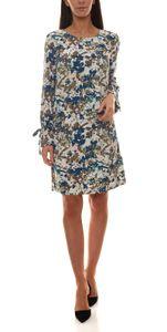 TOM TAILOR Kleid farbenfrohes Damen Druck-Kleid mit Bindebanddetail Weiß, Größe:34
