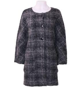 REPEAT cashmere Strick-Mantel oversized Damen Woll-Jacke mit Jacquard-Muster Grau/Schwarz, Größe:42