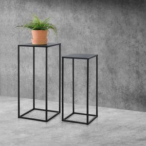 Säulentisch 2er Set Beistelltisch 2 St. Satztisch Pflanztisch mit Metallgestell Deko Tisch Kratzfest [en.casa]