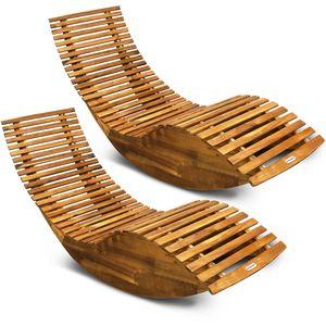 Deuba 2x Schwungliege Akazienholz Ergonomisch Wippfunktion Gartenliege Sonnenliege Relaxliege Saunaliege