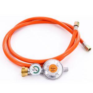 Gasschlauch Set bestehend aus Gasdruckregler 50 mbar mit Manometer und Sicherheitsventil sowie flexiblem Gasschlauch 150 cm - ideal für Gasgrills, Heizstrahler, Hockerkocher, Gaskocher, Lampen, uvm.